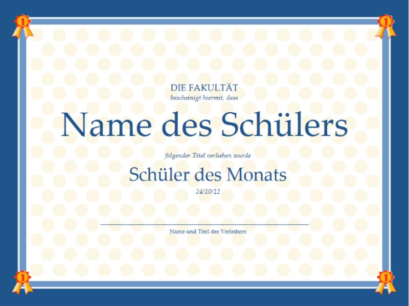 Zertifikat für den Schüler des Monats