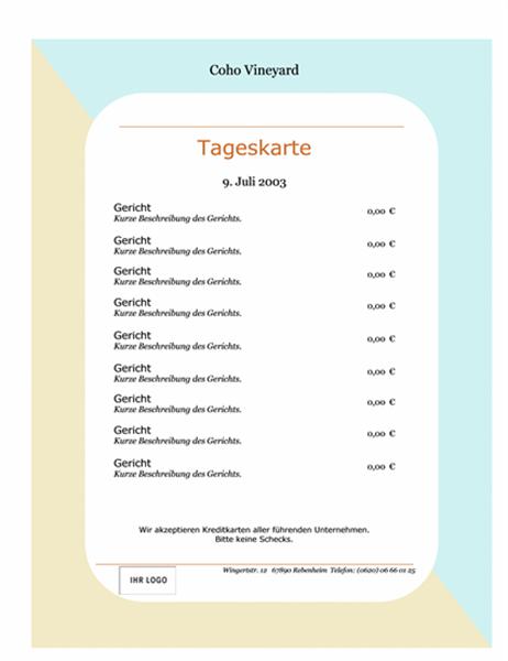 "Speisekarte ""Tageskarte"" (21,6 x 27,9 cm)"