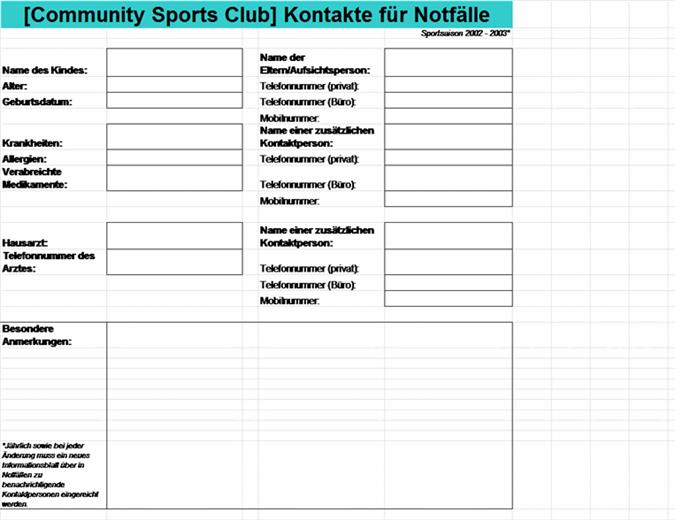 Notfallkontakte für den Community Sports Club