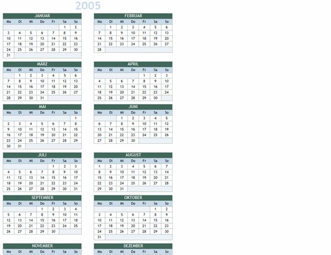 Jahreskalender 2005–2014 (Mo-So)