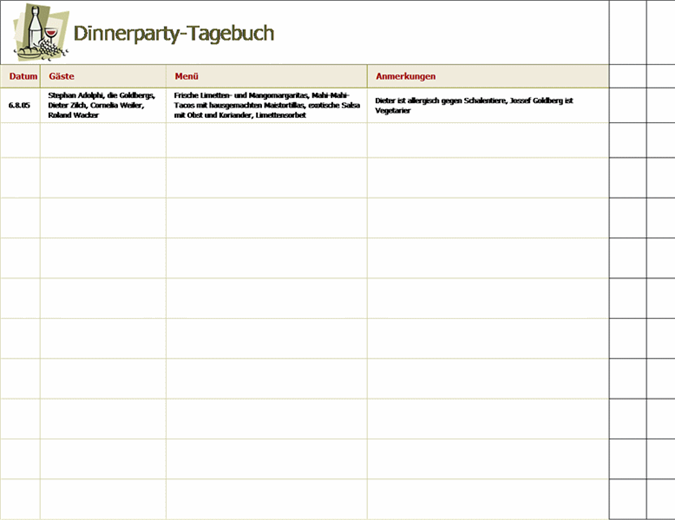 Dinnerparty-Tagebuch