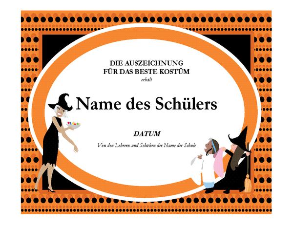Auszeichnung für bestes Halloween-Kostüm
