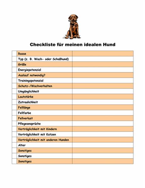 Checkliste für meinen idealen Hund