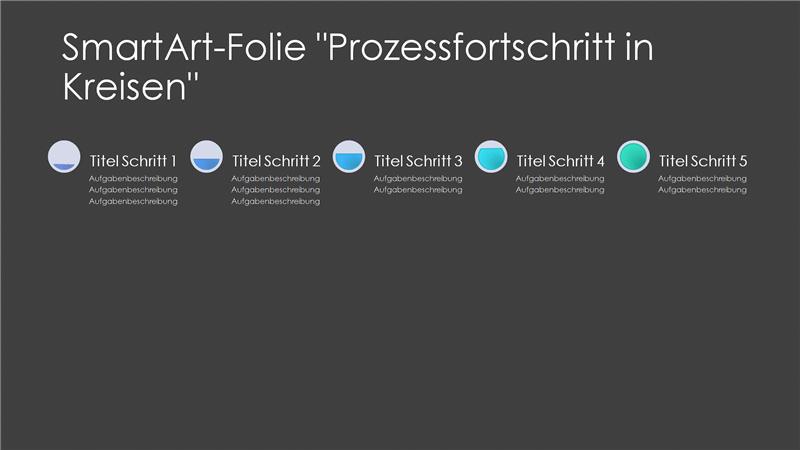 """SmartArt-Folie """"Prozessfortschritt in Kreisen"""" (Grau und Blau auf Schwarz), Breitbild"""