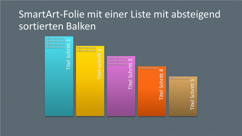 SmartArt-Folie mit einer Liste mit absteigend sortierten Balken (mehrfarbig oder grau), Breitbild