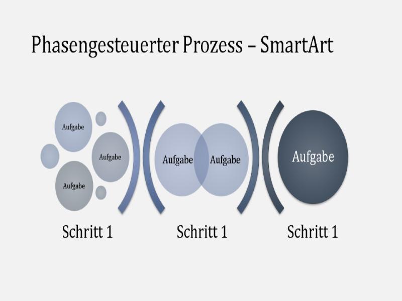 SmartArt für phasengesteuerten Prozess (hell- und dunkelblau), Breitbild