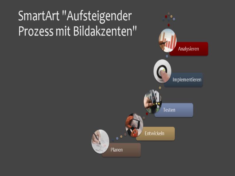 """SmartArt """"Aufsteigender Prozess mit Bildakzenten"""" (mehrfarbig auf Grau), Breitbild"""