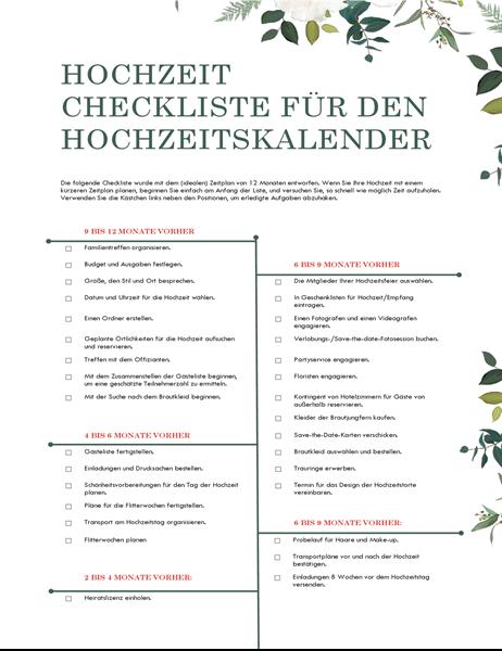 Hochzeitscheckliste