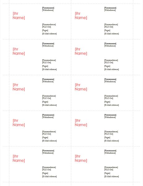 """Visitenkarten (Entwurf """"Rot"""", 10 pro Seite)"""