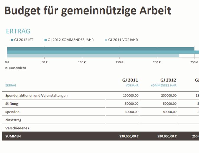 Budget für gemeinnützige Arbeit mit Spendenaktionen