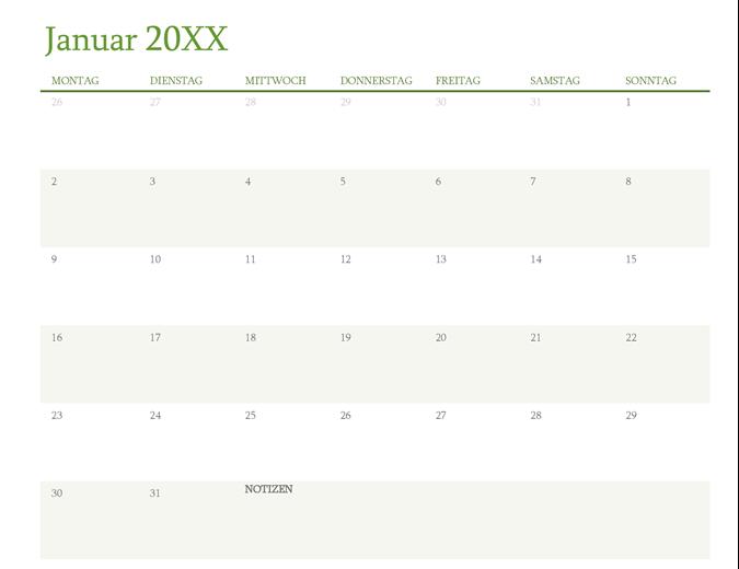 Kalender für beliebiges Jahr (1 Monat pro Registerkarte)