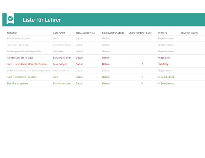 Aufgabenliste für Lehrer