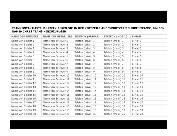 Kontaktliste für Sportmannschaft