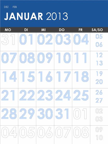 Kalender 2013-2014, mehrfarbig (Mo-So)