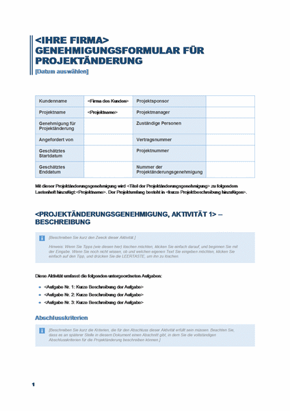 Genehmigungsformular für Projektänderung