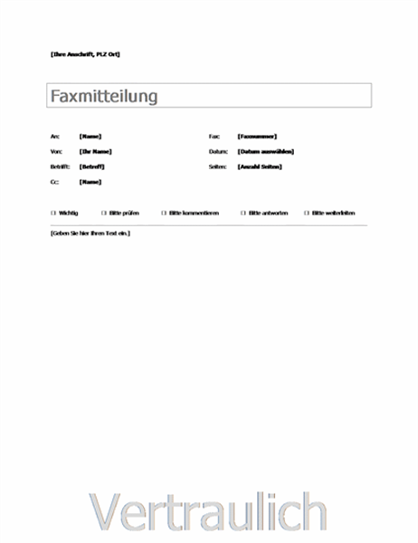 Faxdeckblatt - Office Templates
