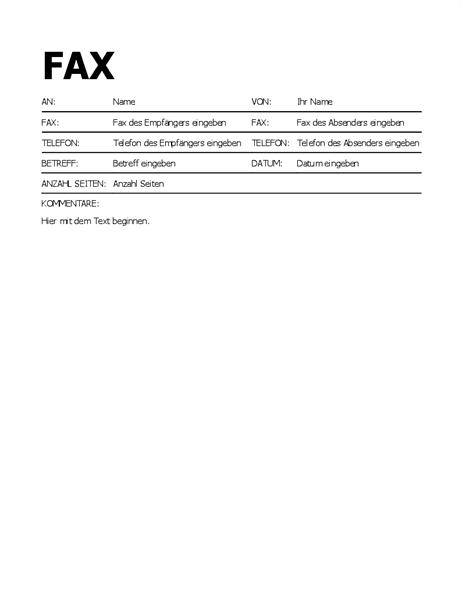 Faxdeckblatt mit Fettschrift