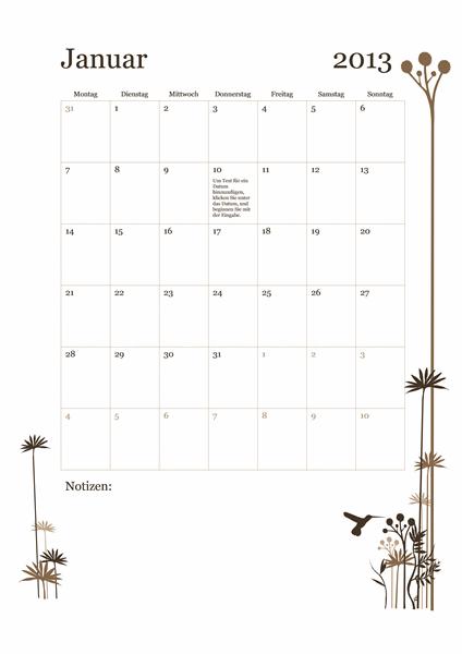 12-Monats-Kalender 2013 (Mo – So)