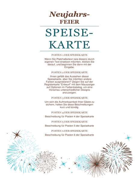 Menüfolge für Silvesterparty (Designset \
