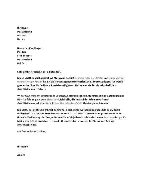 Brief mit Bitte um ein Informationsgespräch