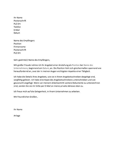 Antrittsbrief auf ein Stellenangebot