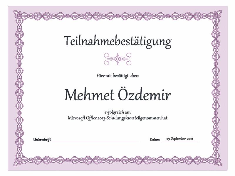 """schulungsurkunde (im design """"lila kette"""") - office templates, Einladung"""