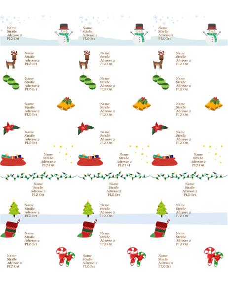 Geschenketiketten (Geist-der-Weihnacht-Design, 30 pro Seite, für Avery 5160)