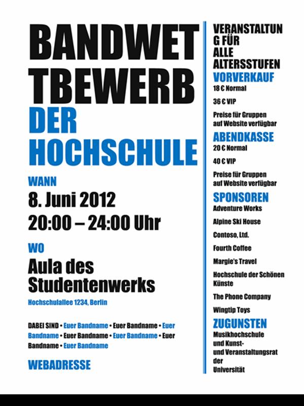 """Handzettel für Kursteilnehmer (Design """"Fette schwarze und blaue Schrift"""")"""