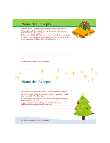 Rezeptkarten (Geist-der-Weihnacht-Design, 2 pro Seite, für Avery 5889)