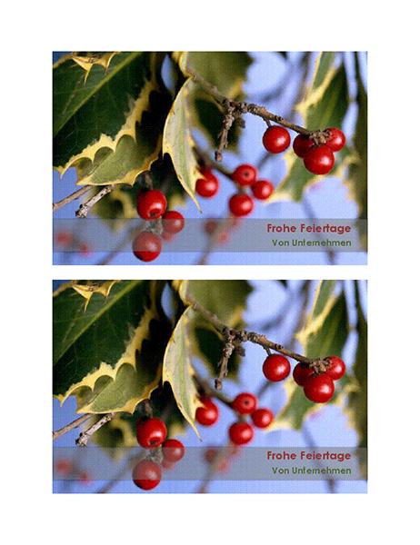 Feiertagspostkarten für ein Unternehmen (2 pro Seite)