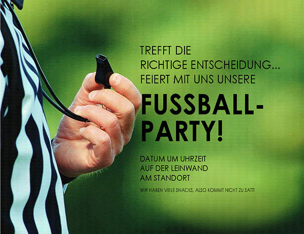 Fußballparty-Handzettel