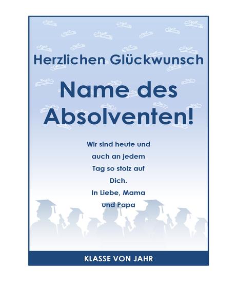 Handzettel für Absolventengratulation (Abiparty-Design)