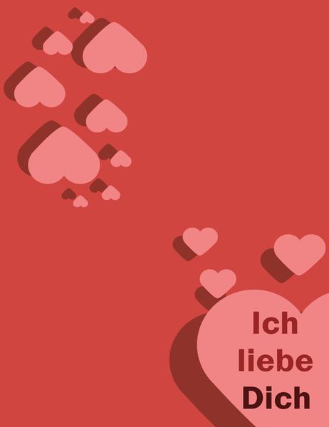 Ich liebe Dich-Karte (vierfach gefaltet)