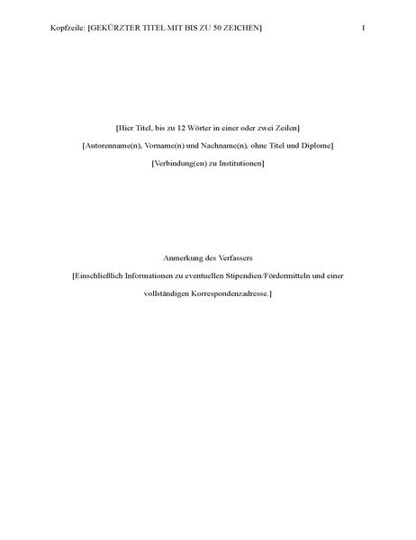 Bericht im APA-Format (6. Auflage)