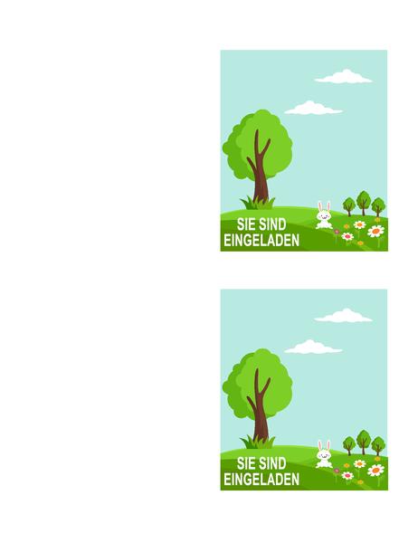 Einladungen zu einer Frühlingsparty (2 pro Seite, geeignet für Avery 5315 und ähnliches)