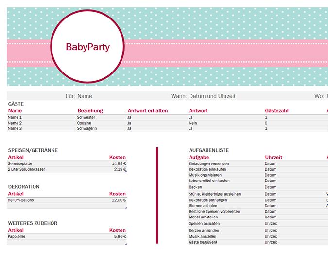 Planer für Babyparty