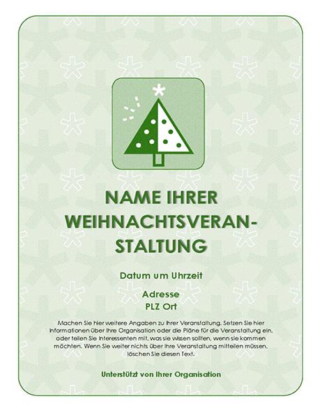 Weihnachtsparty-Handzettel (mit grünem Baum)