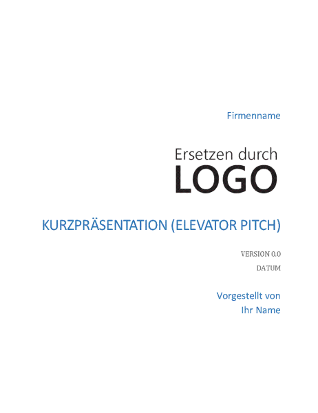 Kurzpräsentation (Elevator Pitch)