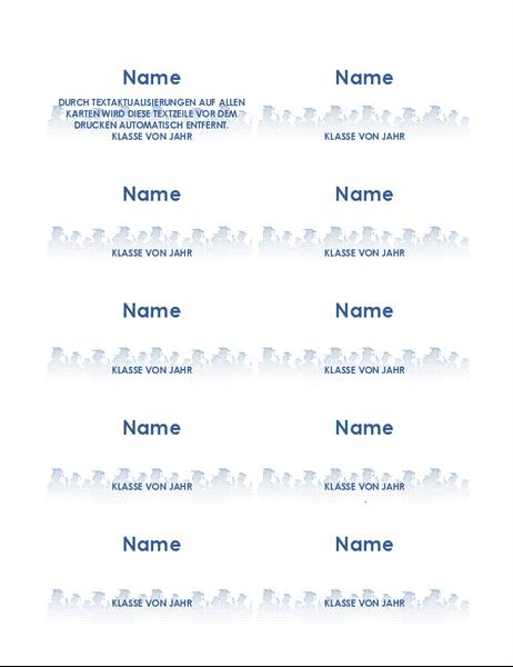 Namenskarten für Absolventen (10 pro Seite)