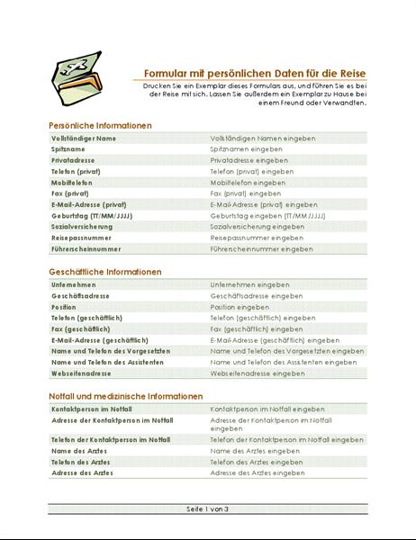 Formular für Reiseroute und persönliche Daten