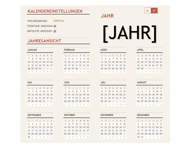 Kalender für alle Jahre mit Feiertagen