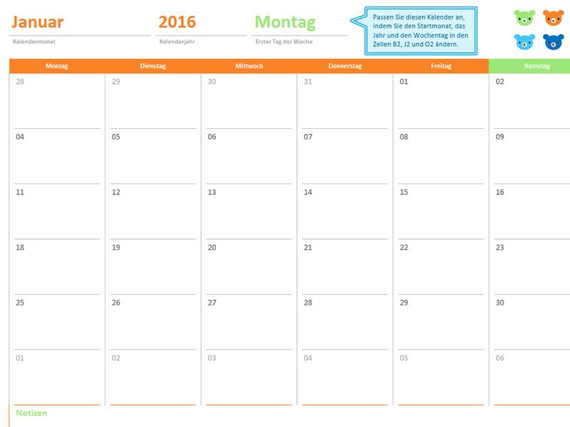 """Monatskalender für beliebige Jahre (12 Seiten, Design """"Regenbogenbären"""")"""