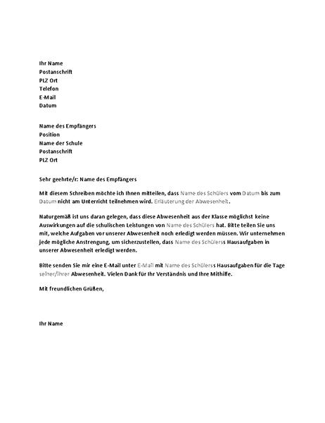 Brief zur Benachrichtigung einer Schule von der bevorstehenden Abwesenheit eines Schülers
