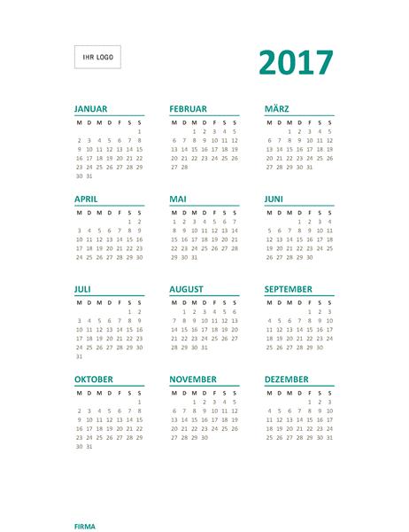 Auf-einen-Blick-Jahreskalender 2017 (Mo–So)