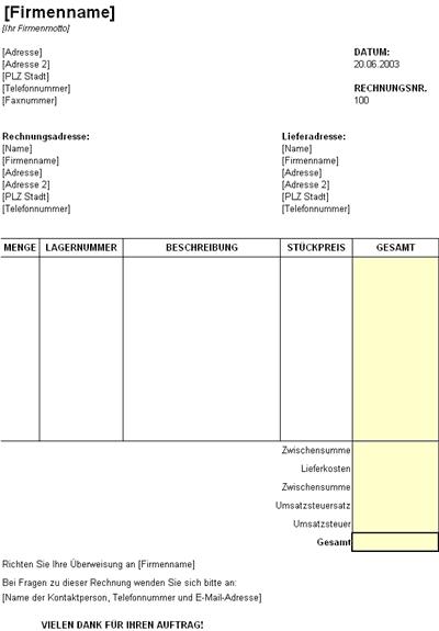 Rechnungsformular mit Lagernummer