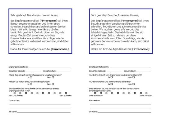 Umfrage zum Service des Empfangspersonals