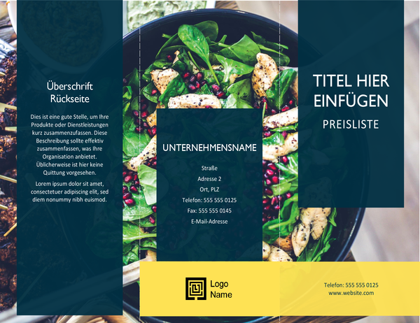 Broschüre mit Preisliste (Jakobsmuscheln-Design)