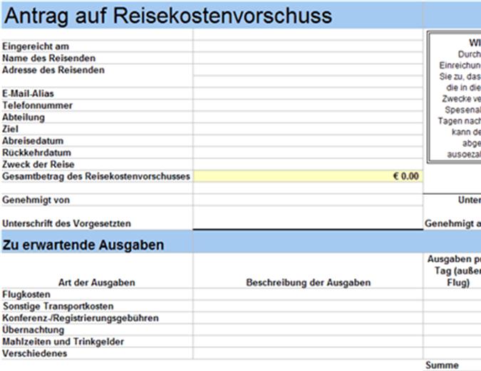 Antrag auf Reisekostenvorschuss