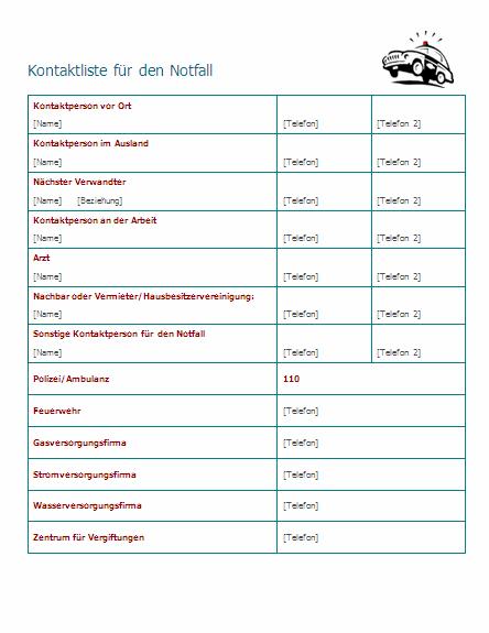 Kontaktliste für den Notfall