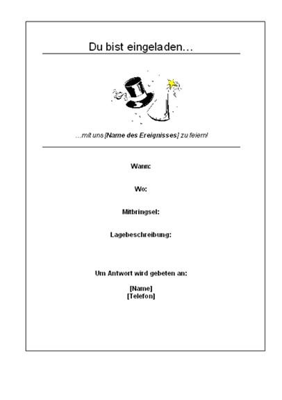 Einladung zu einer Feier (Handzettel)